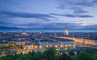 Turin (Torino), high definition panorama at twilight